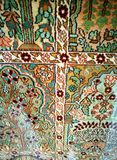 Detaljer på den antika arabiska handen vävd ull mattar Arkivbilder
