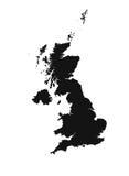 Detaljerad översikt av Förenade kungariket som är svartvit Mercator projektion Stock Illustrationer