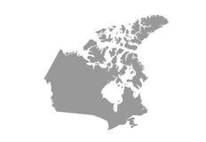 Detaljerad översikt av Kanada i grå färger på en vit bakgrund Stock Illustrationer