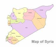 Detaljerad översikt av Syrien på en vit bakgrund Syrien högt detaljerad politisk översikt Arkivbild