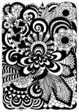 Detaljerad abstrakt zentangle blommar bakgrund Fotografering för Bildbyråer