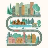 Detaljerad bild av ett stadslandskap aktiv livsstil Lätt redigerbart för nya alternativ för upprättande för läget av byggnader royaltyfri illustrationer
