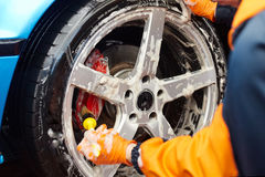 Detaljerad biltvätt Royaltyfri Fotografi