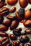 Detaljerad closeup av kaffe i stearin Arkivfoto