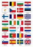 Detaljerad europeisk vektor för fackliga flaggor royaltyfri illustrationer