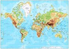Detaljerad fysisk världskarta royaltyfri illustrationer