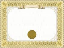 detaljerad guld för certifikat Royaltyfria Bilder