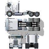 detaljerad hög halv lastbilvektor Royaltyfri Fotografi