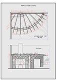 Detaljerad illustration av den uteplatspergolan och spisen Arkivbilder