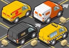 Detaljerad illustration av en isometrisk leveranslastbil och taxi i bakre sikt Royaltyfria Bilder