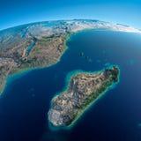 Detaljerad jord. Afrika och Madagascar stock illustrationer