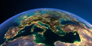 Detaljerad jord Europa driva som fiskar medelhavs- netto havstonfisk royaltyfri illustrationer