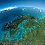 Detaljerad jord. Europa. Skandinavien Arkivbild