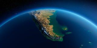 Detaljerad jord h?rligt dimensionellt diagram illustration s?dra tre f?r 3d Amerika mycket del fuego tierra royaltyfri illustrationer