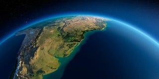 Detaljerad jord h?rligt dimensionellt diagram illustration s?dra tre f?r 3d Amerika mycket Rio de la Plata vektor illustrationer