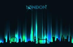 Detaljerad kontur för neonLondon horisont Arkivbild
