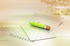 Detaljerad kuvert och blyertspenna Fotografering för Bildbyråer