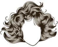 detaljerad kvinna för framsidahår s stock illustrationer