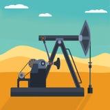Detaljerad olje- pump för vektorlägenhet på öknen Backround Royaltyfria Bilder