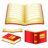Detaljerad röd bokvektorpacke med olika vinklar Royaltyfria Bilder