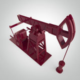 Detaljerad röd metallisk pump-stålar för höjdpunkt, oljeplattform isolerad tolkning bränslebransch, ekonomikrisillustration Fotografering för Bildbyråer