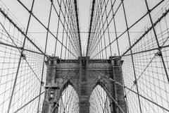 Detaljerad sikt av den Brooklyn bron, New York, USA Royaltyfri Foto