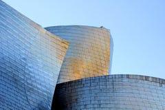 Detaljerad sikt av det Guggenheim museet i Bilbao, Biscay, bask royaltyfria foton