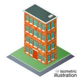 Detaljerad tegelstenbyggnad i den isometriska projektionen Fotografering för Bildbyråer
