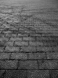 Detaljerad tegelstengångbana med skugga Fotografering för Bildbyråer