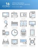 Detaljerad tunn linje symboler Kontorstekniker och elektroniska apparater Royaltyfria Bilder