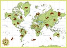 Detaljerad världskarta med djur vektor illustrationer