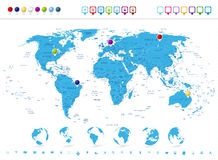 Detaljerad världskarta med jordklotsymboler och navigeringsymboler Arkivbilder