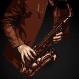 Detaljerad vektor av jazzsaxofonspelaren Arkivfoton