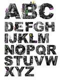 detaljerad vektor för alfabet mycket Arkivbild