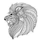 Detaljerad zentangle stiliserade lejonet för T-skjortadiagrammet, sidor för färgläggningboken för vuxen människa, kort, tatuerar  royaltyfri illustrationer