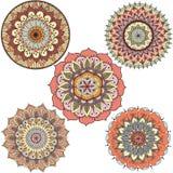 Detaljerade abstrakta färgrika blom- mandalacirklar för designbeståndsdel - lagerföra vektorn Arkivfoton