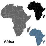 Detaljerade Afrika översiktsöversikter i svart, grå färger & blått royaltyfri illustrationer