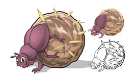 Detaljerade Dung Beetle Cartoon Character med plan design och linje Art Black och vit version Arkivfoton
