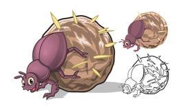 Detaljerade Dung Beetle Cartoon Character med plan design och linje Art Black och vit version royaltyfri illustrationer