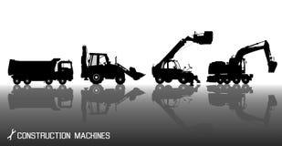 Detaljerade konturer av konstruktionsmaskiner: lastbil grävskopa, bulldozer, hiss med reflexionsbakgrund Royaltyfri Bild