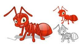 Detaljerade röda Ant Cartoon Character med plan design och linje Art Black och vit version vektor illustrationer