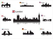 Detaljerade silhouettes av världsstäder stock illustrationer