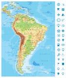 Detaljerade Sydamerika fysiska översikts- och navigeringsymboler royaltyfri illustrationer