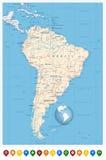 Detaljerade symboler för Sydamerika översikts- och lägestift royaltyfri illustrationer
