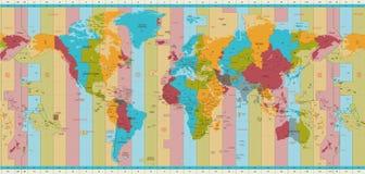 Detaljerade världskartanormaltidzoner stock illustrationer