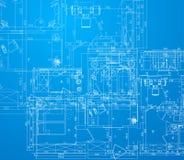 Detaljerat arkitektoniskt plan stock illustrationer