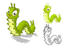 Detaljerat Caterpillar tecknad filmtecken med plan design och linje Art Black och vit version royaltyfri illustrationer