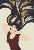 detaljerat hår som sträcker kvinnan stock illustrationer