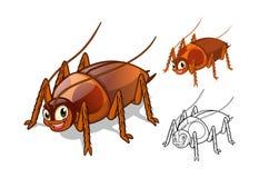 Detaljerat kackerlackatecknad filmtecken med plan design och linje Art Black och vit version stock illustrationer