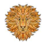 Detaljerat kulört lejon i aztec stil Mönstrat huvud av på bakgrunden Afrikansk indisk totemtatueringdesign Arkivfoto